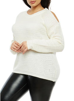 Plus Size Cold Shoulder Sweater - 1920038347118