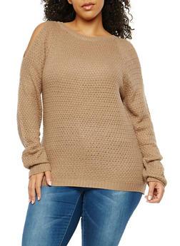 Plus Size Cold Shoulder Sweater - 1920038347118