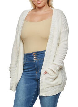 Plus Size Knit Cardigan - IVORY - 1920038347205