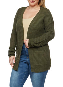 Plus Size Knit Cardigan - OLIVE - 1920038347205