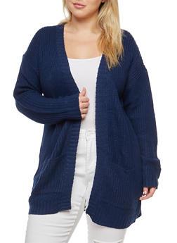 Plus Size Knit Cardigan - 1920038347205