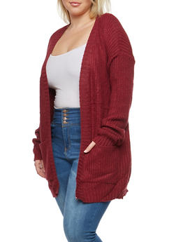 Plus Size Knit Cardigan - 1920038347205