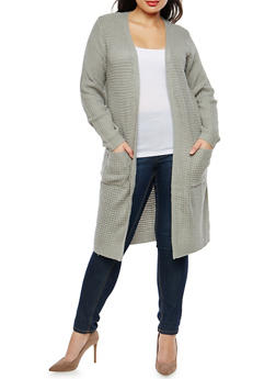 Plus Size Knit Duster with Front Pockets - 1920038347210