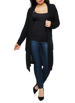 Plus Size Open Front Knit Duster - 1920038347211