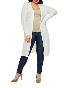 Plus Size Open Front Knit Duster - 1920038347211