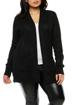 Plus Size Knit Cardigan - 1920038347213