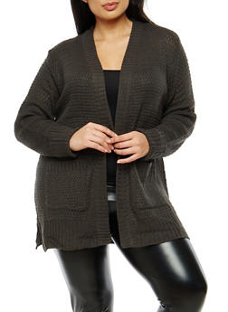 Plus Size Knit Cardigan - 1920038347213