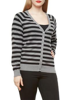Plus Size Button-Down Striped Cardigan,BLACK,medium