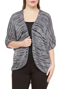 Plus Size Dolman Sleeve Marled Open-Front Cardigan,BLACK,medium