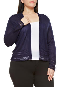 Plus Size Open-Front Knit Cardigan,NAVY,medium