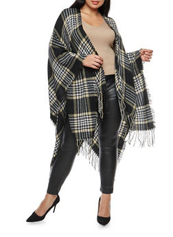 Plus Size Plaid Fringe Shawl - 1920071752426
