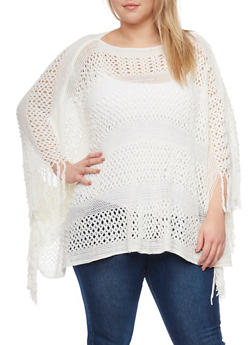 Plus Size Open Knit Poncho with Fringe - 1920071753157