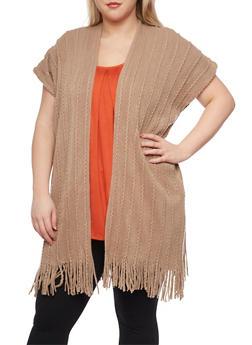 Plus Size Long Cardigan with Fringe Trim - 1920071753182