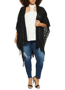 Plus Size Kimono in Textured Open Knit - 1920071753190