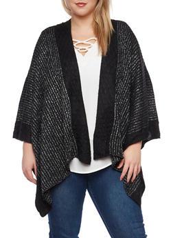 Plus Size Metallic Knit Kimono - 1920071753194