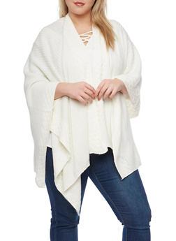 Plus Size Metallic Knit Kimono - IVORY - 1920071753194
