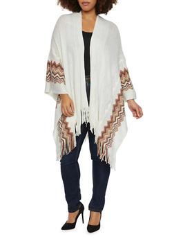 Plus Size Chevron Kimono with Metallic Threading - 1920071753204