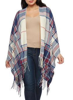 Plus Size Plaid Fringe Shawl Cardigan - 1920071753431