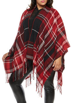 Plus Size Plaid Fringe Shawl - 1920071753431