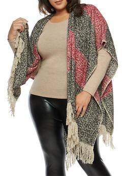Plus Size Striped Fleece Shawl with Fringe - 1920071753432