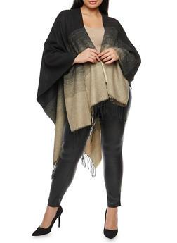 Plus Size Ombre Fringe Shawl Cardigan - 1920071753439