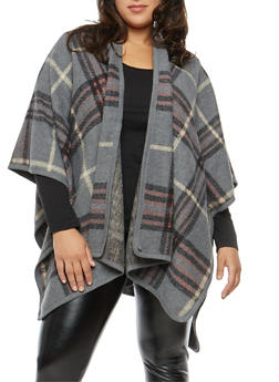 Plus Size Plaid Fleece Shawl - 1920071753443