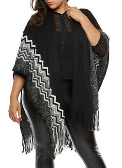Plus Size Shimmer Knit Fringe Shawl - 1920071753446