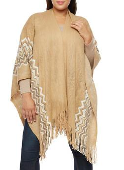Plus Size Shimmer Knit Fringe Shawl - 1920071753446