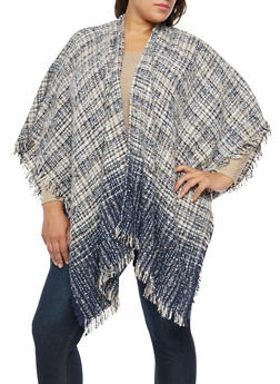 Plus Size Mixed Knit Shall with Fringe - 1920071753459