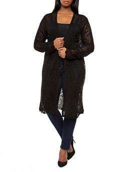 Plus Size Crochet Knit Open Front Cardigan,BLACK,medium