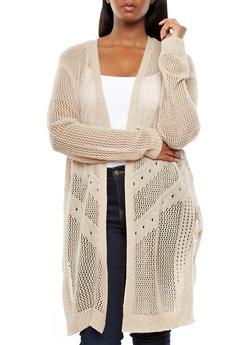 Plus Size Open Front Zig Zag Crochet Cardigan Sweater With Side Slits,TAN,medium