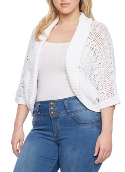 Plus Size Crochet Cardigan with Dolman Sleeves - 1920072898043