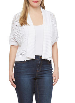 Plus Size Crochet Cardigan with Dolman Sleeves - 1920072898044
