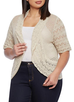 Plus Size Open Front Mixed Crochet Cardigan - 1920072991139