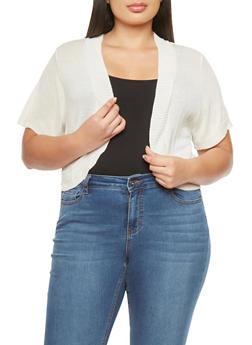 Plus Size Solid Knit Shrug - 1920072991140