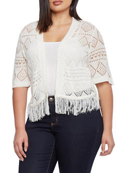Plus Size Open Front Crochet Cardigan with Fringe Hem - 1920072996959