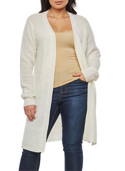 Plus Size Knit Open Front Duster - 1920074051147