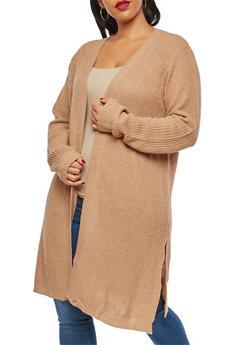 Plus Size Knit Open Front Duster - 1920074051147