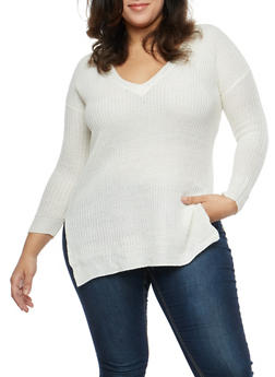 Plus Size Long Sleeve V Neck Sweater - 1920074051149