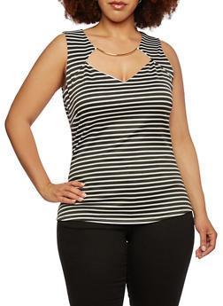 Plus Size Striped Top with Metallic Bar Neckline - 1924020625281