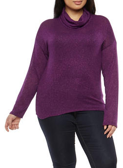 Plus Size Shimmer Knit Cowl Neck Sweater - 1924061351012
