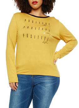 Plus Size Positive Graphic Long Sleeve T Shirt - 1924061354584