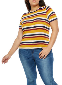 Plus Size Striped Top - 1924061358683