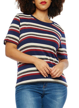 Plus Size Striped Top - 1924061358683