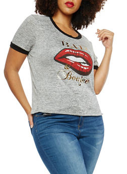 Plus Size Marled Foil Graphic T Shirt - 1924061359480