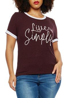 Plus Size Contrast Trim Graphic T Shirt - 1924061359483