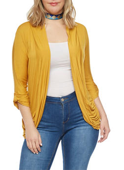 Plus Size Open Front Cardigan with Rouched Pockets - MUSTARD - 1924062703431