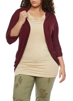Plus Size Open Front Cardigan with Rouched Pockets - BURGUNDY - 1924062703431