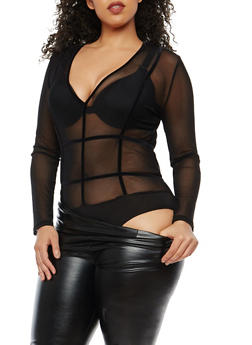 Plus Size Velvet Trim Mesh Bodysuit - 1924069391560