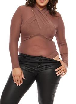 Plus Size Twist Front Mesh Bodysuit - 1924069395098